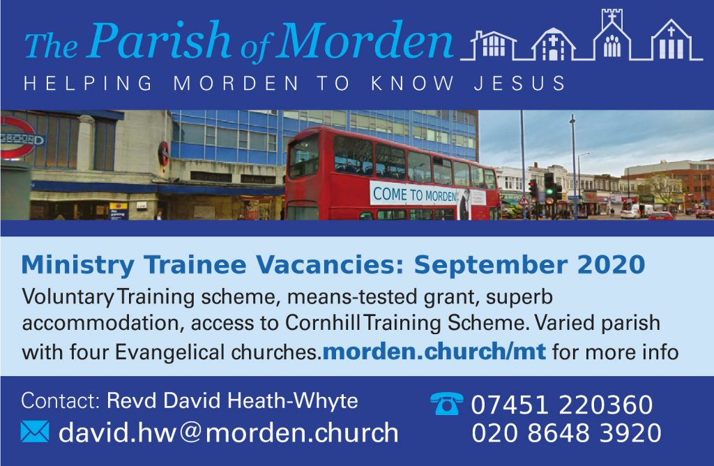 Image advert for 2020 Ministry Trainee / Internship